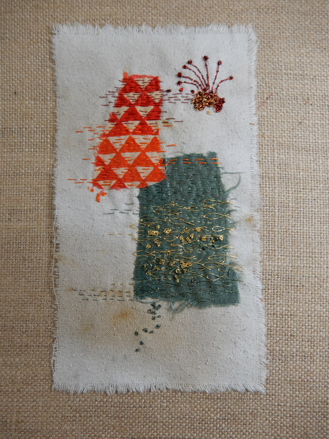 hand stitched fiber art by Kathleen Loomis